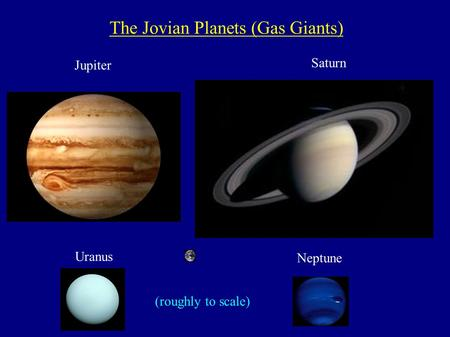 The Jovian Planets (Gas Giants) Jupiter Saturn Uranus Neptune (roughly to scale)
