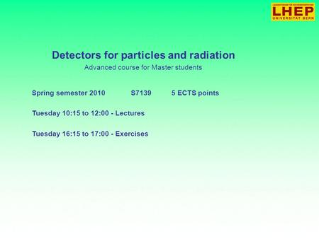 Detectors for particles and radiation