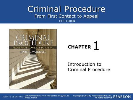 1 Introduction to Criminal Procedure.