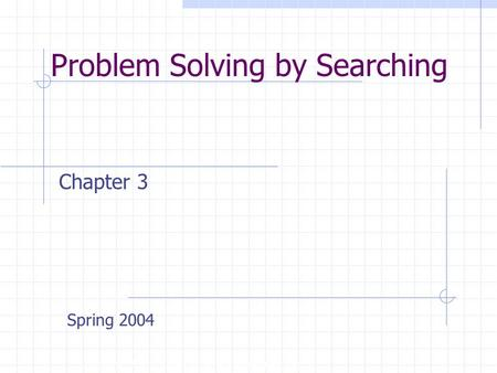 Problem Solving by Searching Copyright, 1996 © Dale Carnegie & Associates, Inc. Chapter 3 Spring 2004.