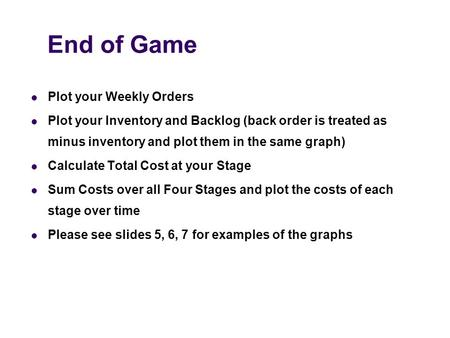 End of Game Plot your Weekly Orders Plot your Inventory and Backlog (back order is treated as minus inventory and plot them in the same graph) Calculate.