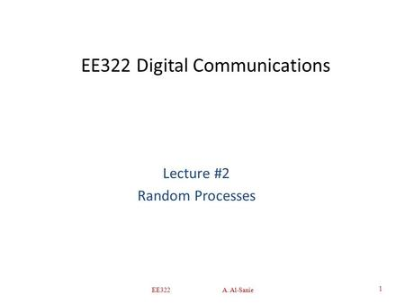 EE322 Digital Communications