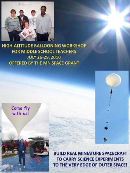 Come fly with us!. Workshop Overview Middle school teachers (two from each participating school) will work in teams to construct payloads for a high-altitude.