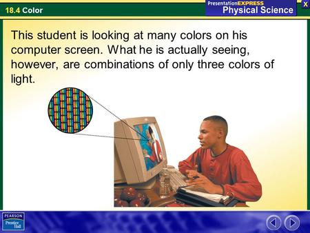 This student is looking at many colors on his computer screen