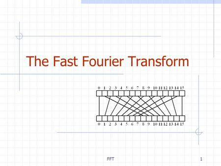 FFT1 The Fast Fourier Transform. FFT2 Outline and Reading Polynomial Multiplication Problem Primitive Roots of Unity (§10.4.1) The Discrete Fourier Transform.