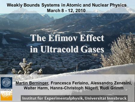 The Efimov Effect in Ultracold Gases Weakly Bounds Systems in Atomic and Nuclear Physics March 8 - 12, 2010 Institut für Experimentalphysik, Universität.