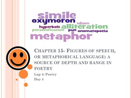 C HAPTER 15- F IGURES OF SPEECH, OR METAPHORICAL LANGUAGE : A SOURCE OF DEPTH AND RANGE IN POETRY Lap 4: Poetry Day 4.