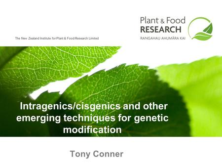 The New Zealand Institute for Plant & Food Research Limited Tony Conner Intragenics/cisgenics and other emerging techniques for genetic modification.