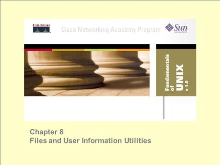 Chapter 8 Files and User Information Utilities. Logical Partitions referred to as file systems like a drive in windows world $ df (display filesystems)