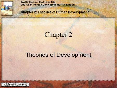1 of 22 Carol K. Sigelman, Elizabeth A. Rider Life-Span Human Development, 4th Edition Chapter 2: Theories of Human Development Chapter 2 Theories of Development.
