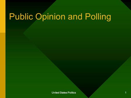 United States Politics 1 Public Opinion and Polling.