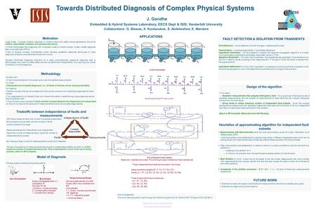 Towards Distributed Diagnosis of Complex Physical Systems J. Gandhe Embedded & Hybrid Systems Laboratory, EECS Dept & ISIS, Vanderbilt University Collaborators:
