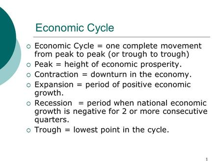 1 Economic Cycle  Economic Cycle = one complete movement from peak to peak (or trough to trough)  Peak = height of economic prosperity.  Contraction.