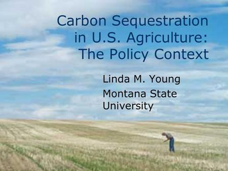 Carbon Sequestration in U.S. Agriculture: The Policy Context Linda M. Young Montana State University.