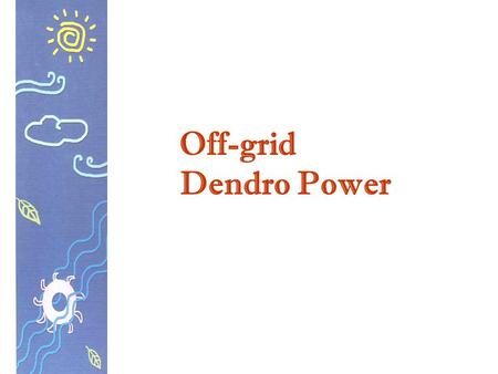 Off-grid Dendro Power.