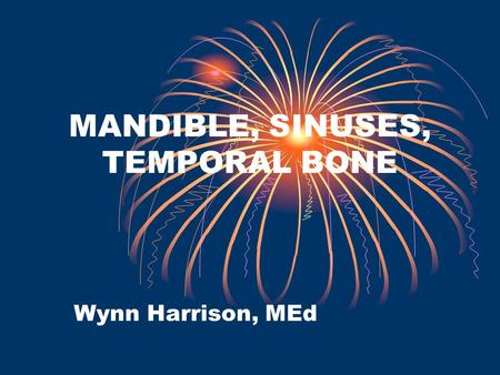 MANDIBLE, SINUSES, TEMPORAL BONE Wynn Harrison, MEd.