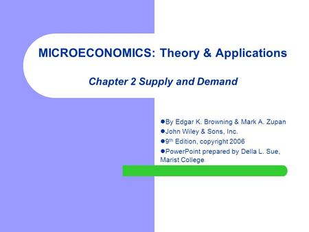 MICROECONOMICS: Theory & Applications Chapter 2 Supply and Demand By Edgar K. Browning & Mark A. Zupan John Wiley & Sons, Inc. 9 th Edition, copyright.