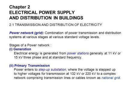 Chapter 2 ELECTRICAL POWER SUPPLY AND DISTRIBUTION IN BUILDINGS