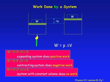 Physics 101: Lecture 25, Pg 1 Work Done by a System W W yy W = p  V W > 0 if  V > 0 expanding system does positive work W < 0 if  V < 0 contracting.