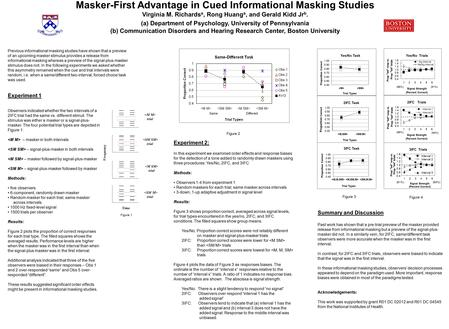 Masker-First Advantage in Cued Informational Masking Studies Virginia M. Richards a, Rong Huang a, and Gerald Kidd Jr b. (a) Department of Psychology,