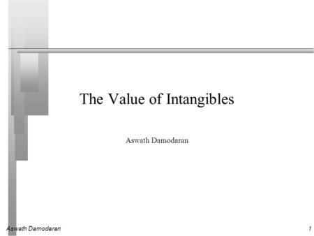 Aswath Damodaran1 The Value of Intangibles Aswath Damodaran.