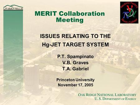 MERIT Collaboration Meeting ISSUES RELATING TO THE Hg-JET TARGET SYSTEM P.T. Spampinato V.B. Graves T.A. Gabriel Princeton University November 17, 2005.