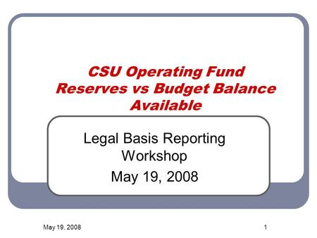 May 19, 20081 CSU Operating Fund Reserves vs Budget Balance Available Legal Basis Reporting Workshop May 19, 2008.