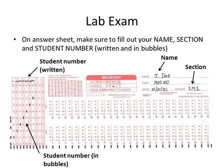 Lab Exam On answer sheet, make sure to fill out your NAME, SECTION and STUDENT NUMBER (written and in bubbles) Name Section Student number (written) Student.