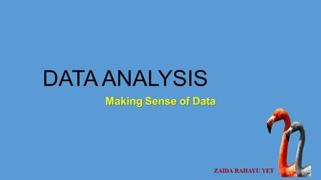 DATA ANALYSIS Making Sense of Data ZAIDA RAHAYU YET.