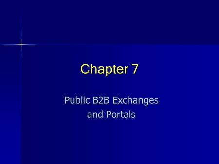 Public B2B Exchanges and Portals