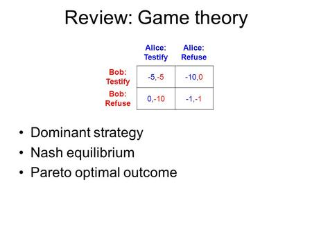 Review: Game theory Alice: Testify Alice: Refuse Bob: Testify -5,-5-10,0 Bob: Refuse 0,-10-1,-1 Dominant strategy Nash equilibrium Pareto optimal outcome.