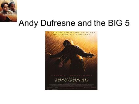 Andy Dufresne and the BIG 5. Component 1 Component 1: describe the movie and the specific scenes which you analyzed. Andy is jailed for murdering his.