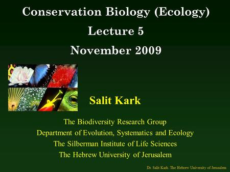 Salit Kark The Biodiversity Research Group Department of Evolution, Systematics and Ecology The Silberman Institute of Life Sciences The Hebrew University.