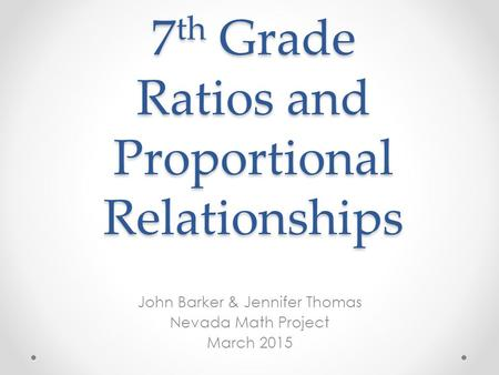 ratio and proportional relationship project