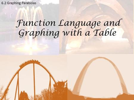 6.2 Graphing Parabolas Function Language and Graphing with a Table.