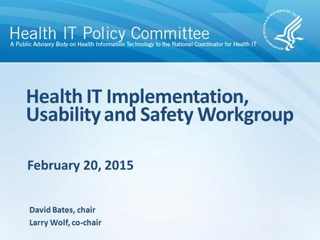 February 20, 2015 Health IT Implementation, Usability and Safety Workgroup David Bates, chair Larry Wolf, co-chair.
