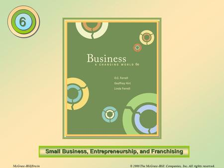 Entrepreneurship and Small Business The process of creating and managing a business to achieve a desired objective Small Business Any independently.
