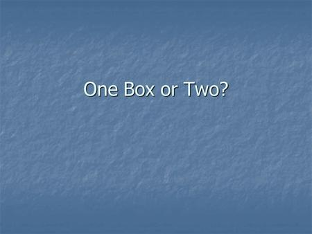 One Box or Two?. Newcomb's Paradox: The Setup You are going to play a game with God. The game involves two boxes, A and B. You can't see inside either.