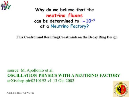 Alain Blondel NUFACT03 Why do we believe that the neutrino fluxes can be determined to +- 10 -3 at a Neutrino Factory? source: M. Apollonio et al, OSCILLATION.