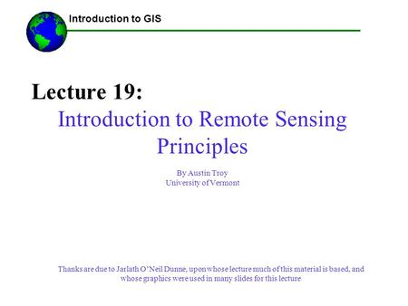 Introduction to Remote Sensing Principles
