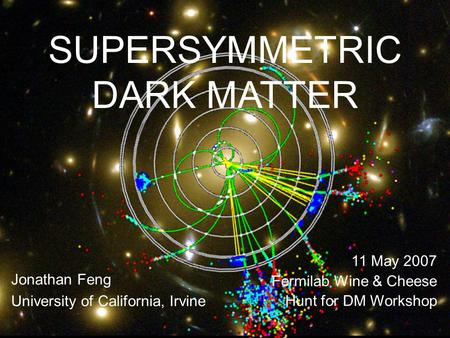 11 May 07Feng 1 SUPERSYMMETRIC DARK MATTER Jonathan Feng University of California, Irvine 11 May 2007 Fermilab Wine & Cheese Hunt for DM Workshop.