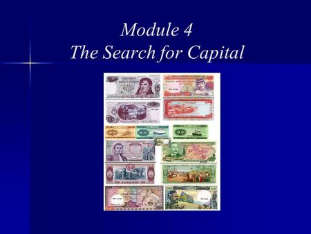 Module 4 The Search for Capital. Module 4 Topics Sources of Capital Background Start-up Ongoing Operations Growth.