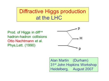 Diffractive Higgs production at the LHC Alan Martin (Durham) 31 st John Hopkins Workshop Heidelberg, August 2007 H p p Prod. of Higgs in diff ve hadron-hadron.