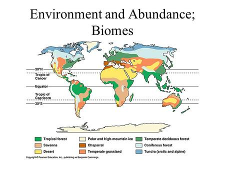 Environment and Abundance; Biomes. Conditions An abiotic factor that influences the immediate survival of an organism – temperature, humidity, pH, salinity,