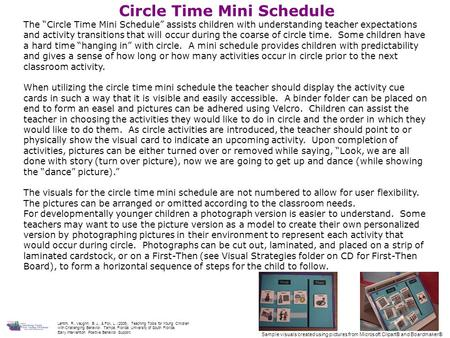 "Circle Time Mini Schedule The ""Circle Time Mini Schedule"" assists children with understanding teacher expectations and activity transitions that will occur."