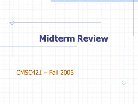 Midterm Review CMSC421 – Fall 2006. CH1 Summary: Intro AI Definitions: dimensions human/rational think/act Three Major Components of AI Algorithms Representation.