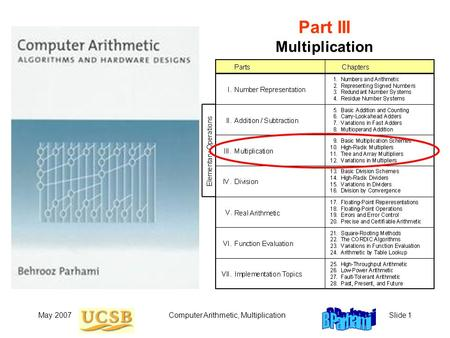 May 2007Computer Arithmetic, MultiplicationSlide 1 Part III Multiplication.