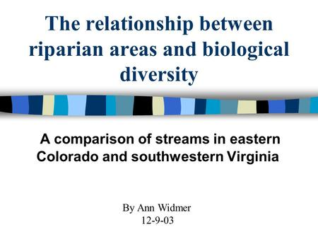 The relationship between riparian areas and biological diversity A comparison of streams in eastern Colorado and southwestern Virginia By Ann Widmer 12-9-03.