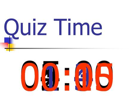 Quiz Time 05:00 04:0003:0002:0001:3001:0000:4500:3000:1500:00.