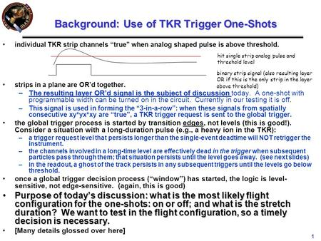 "1 Background: Use of TKR Trigger One-Shots individual TKR strip channels ""true"" when analog shaped pulse is above threshold. strips in a plane are OR'd."